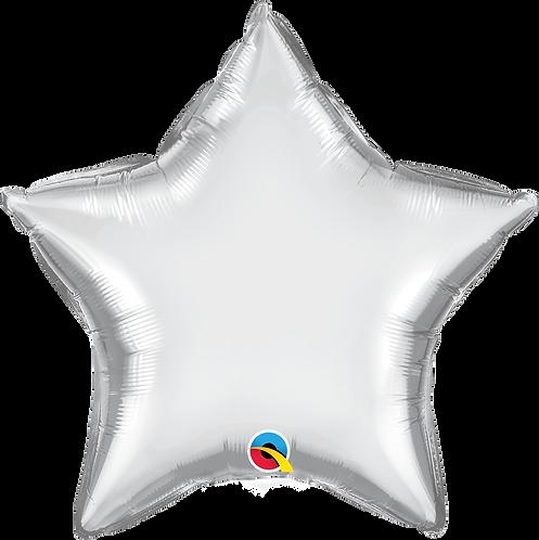 18 Inch Chrome Silver Star Foil Balloon