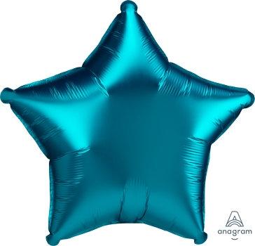 18 Inch Aqua Plain Star Foil Balloon, Matt Finish