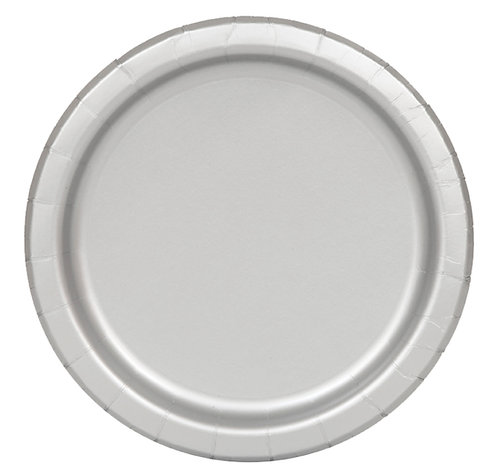 Silver Round Paper Plates 16pk (23cm)