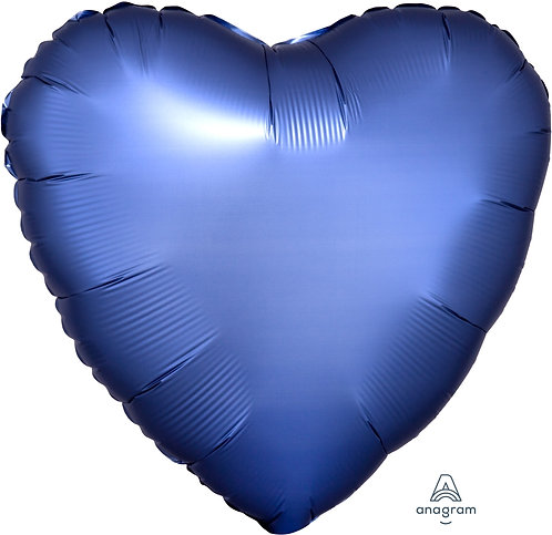 18 Inch Azure Blue Heart Foil Balloon, Satin Luxe