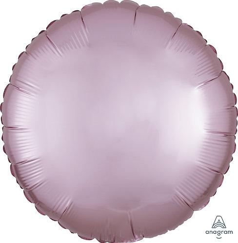18 Inch Pastel Pink Round Foil Balloon, Satin Luxe