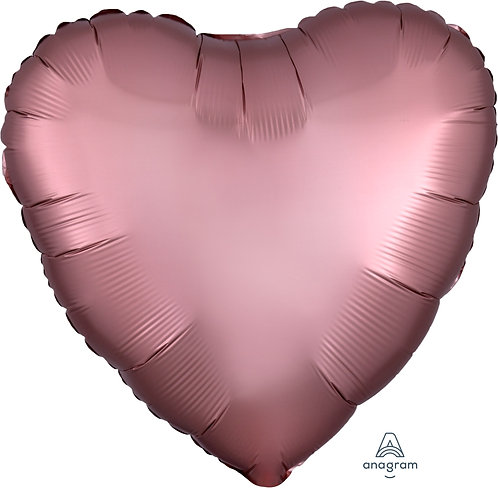 18 Inch Rose Copper Heart Foil Balloon, Satin Luxe