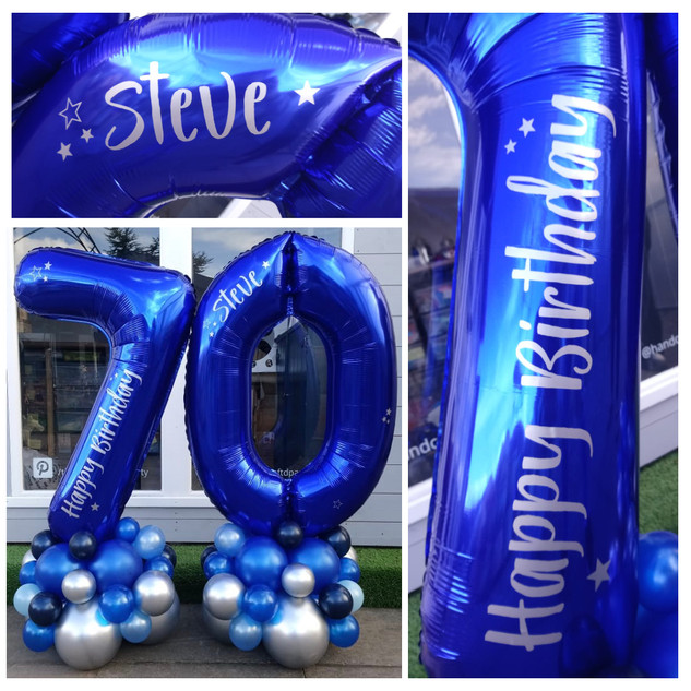 70th Birthday - Blue number on a silver