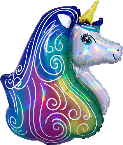 30 Inch Iridescent Rainbow Unicorn Supershape Foil Balloon