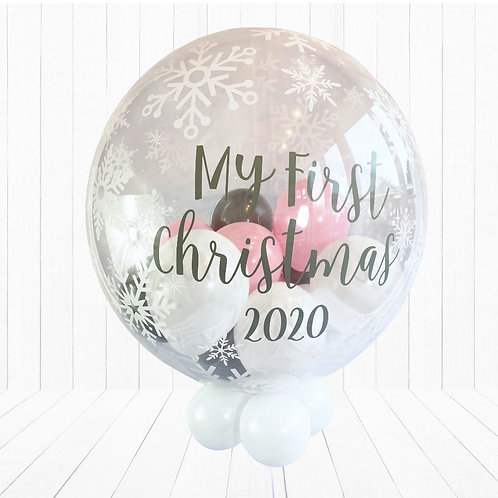 24 Inch Snowflake Bubble Balloon - My First Christmas, Baby Girl