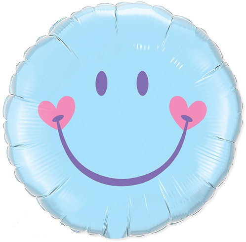 18 Inch Sweet Smiley Baby Blue Emoji Foil Balloon