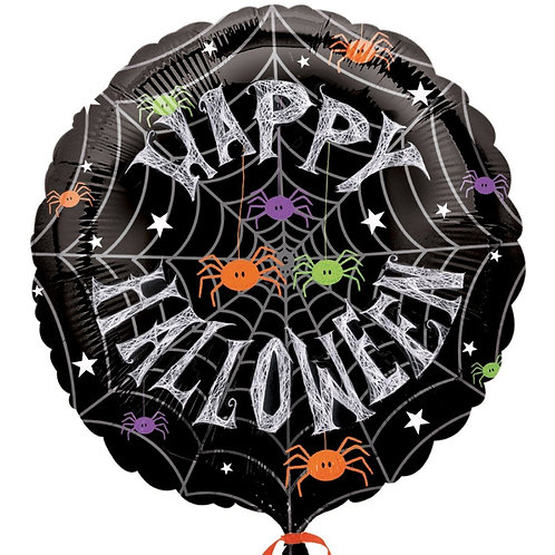 18 Inch Foil Balloon - Happy Halloween Spiders Web
