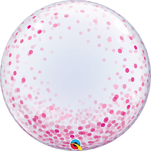 "24"" Bubble Printed - Pink confetti dots"