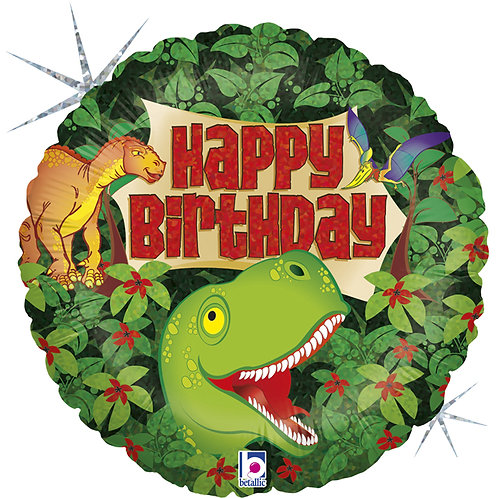 18 Inch Happy Birthday Dinosaur Holographic Foil Balloon