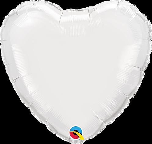 18 Inch White Heart Foil Balloon