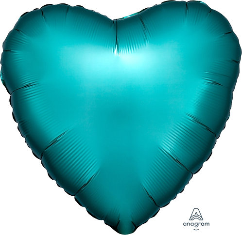 18 Inch Jade Heart Foil Balloon, Satin Luxe