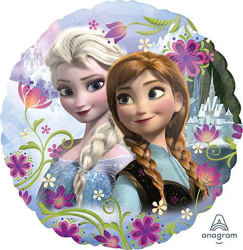 18 Inch Disney Frozen Round Foil Balloon Elsa & Anna
