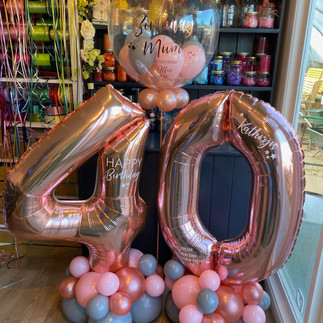 40th Birthday large rose gold numbers personalised on latex balloon base with co-ordinated personalised bubble balloon