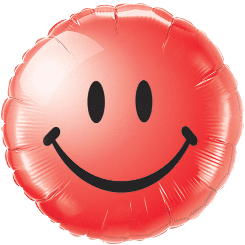 18 Inch Red Emoji Smiley Face Foil Balloon