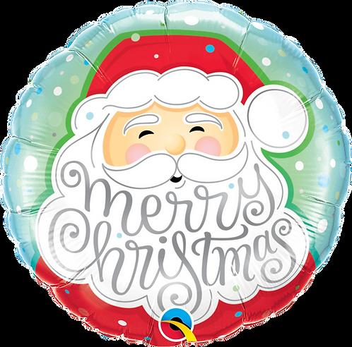 18 inch Round Foil - Merry Christmas Santa