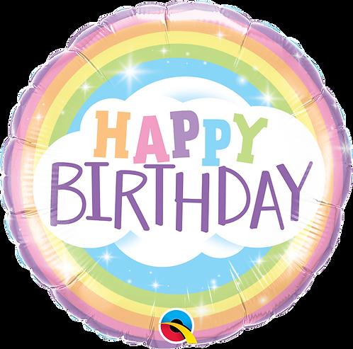 18 Inch Birthday Rainbow Round Foil Balloon