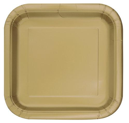 Gold Square Paper Plates 14pk (23cm)