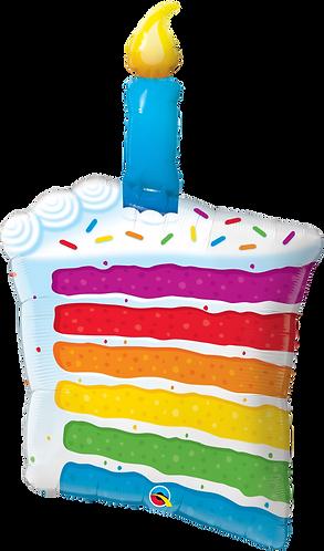 42 Inch Rainbow Cake Supershape Foil Balloon
