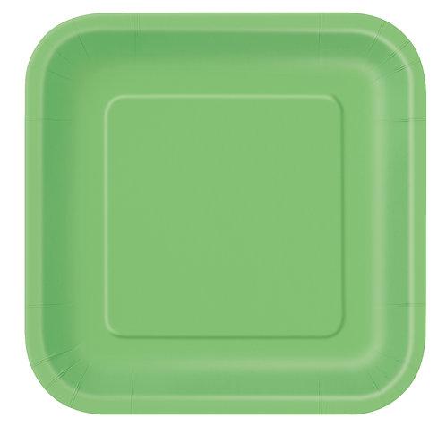 Lime Green Square Paper Plates 14pk (23cm)