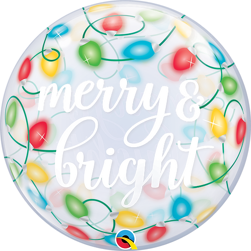 24 Inch Christmas Bubble Balloon - Merry and Bright