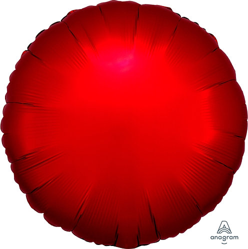 18 Inch Sangria Red Round Foil Balloon, Satin Luxe