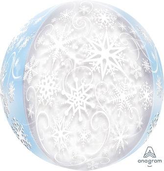 16 Inch Snowflake Orbz Foil Balloon, Anna and Elsa