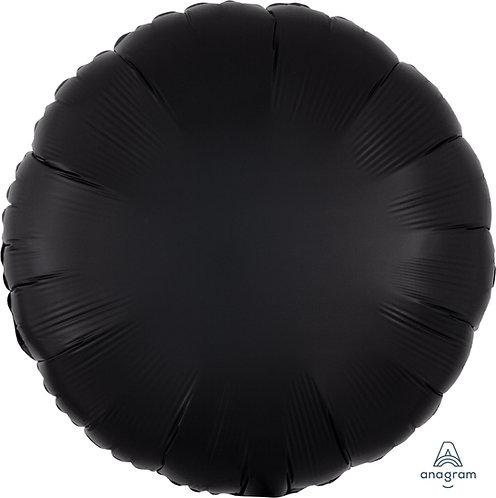 18 Inch Black Round Foil Balloon, Satin Luxe