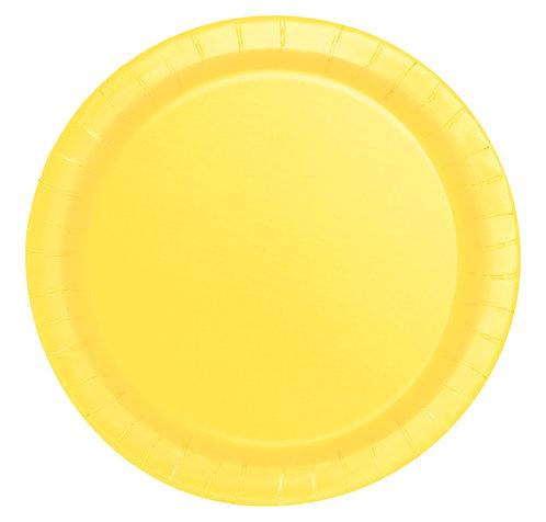 Yellow Round Paper Plates 16pk (23cm)