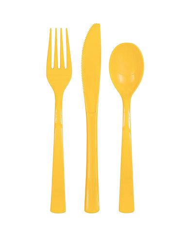 Yellow Plastic Cutlery Set 18pk