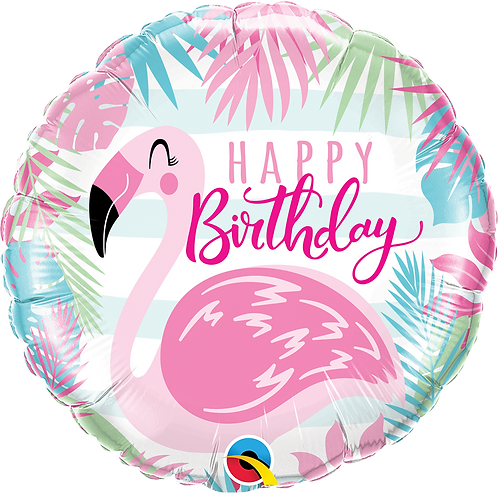 18 Inch Pink Flamingo Birthday Foil Balloon