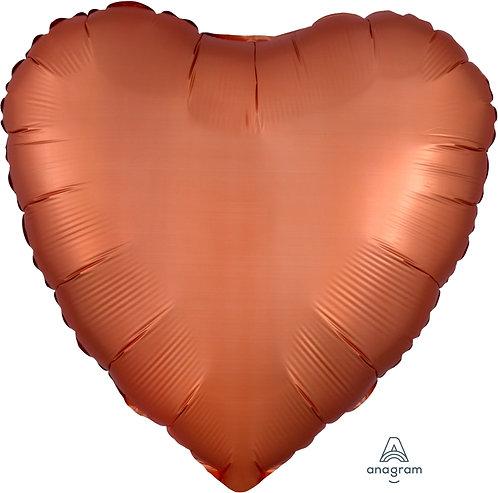 18 Inch Amber Heart Foil Balloon, Satin Luxe