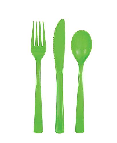 Lime Green Plastic Cutlery Set 18pk