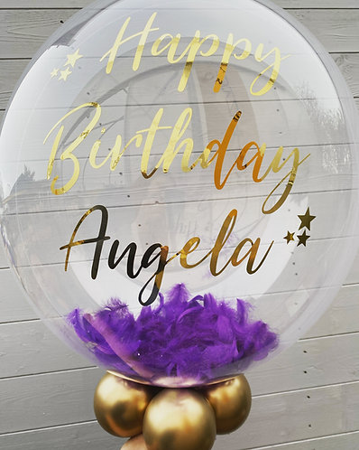 24 Inch Personalised Feather Bubble Balloon