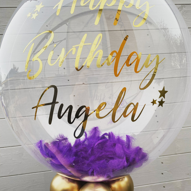 24 Inch Bubble Balloon, Purple Feathers,