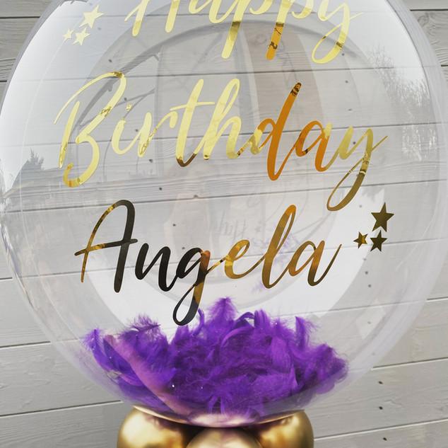 24 Inch Bubble Balloon, Purple Feathers,