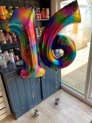 Personalised Rainbow Splash Number Balloons - Helium Filled