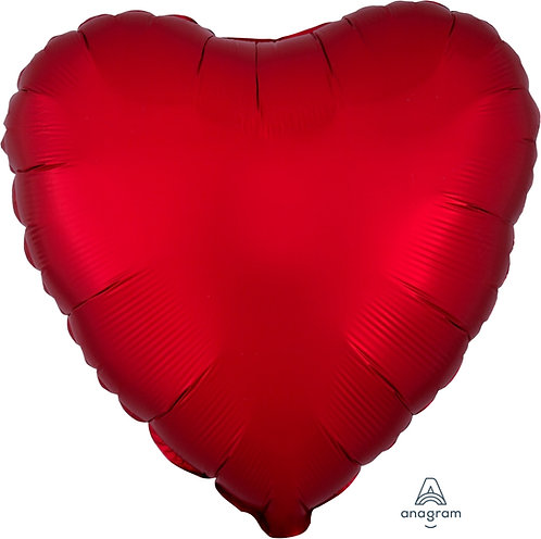 18 Inch Sangria Red Heart Foil Balloon, Satin Luxe