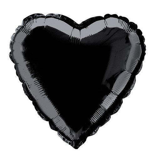 18 Inch Black Heart Foil Balloon