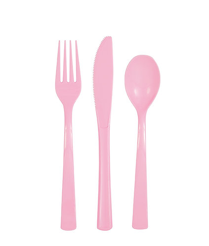 Baby Pink Plastic Cutlery Set 18pk