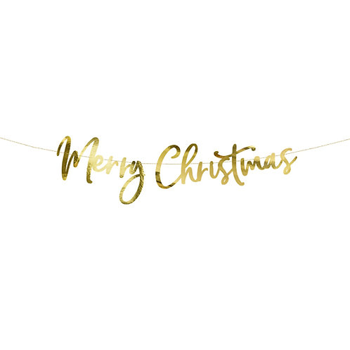 Merry Christmas Garland - Script Letter Banner in Metallic Gold