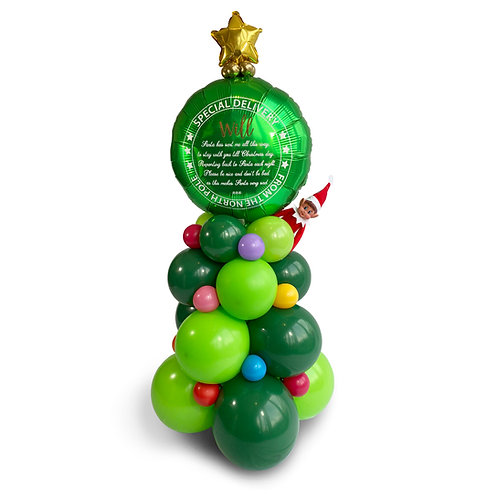 Elf arrival balloon Christmas tree with personalised special delivery balloon