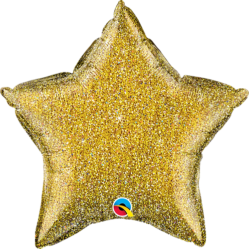 18 Inch Gold Glittergraphic Star Foil Balloon
