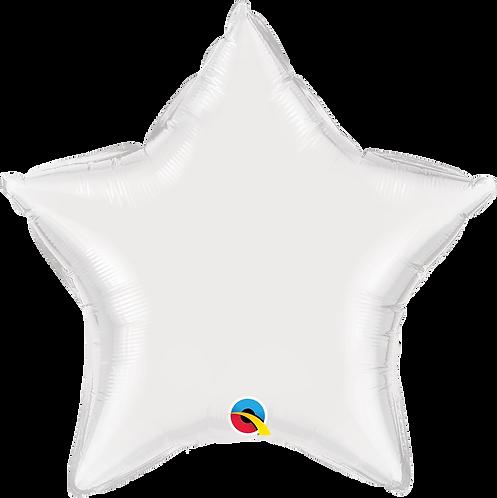 18 Inch White Plain Star Foil Balloon