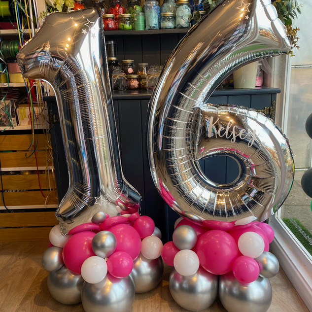 large numbers 16th birthday silver numbe