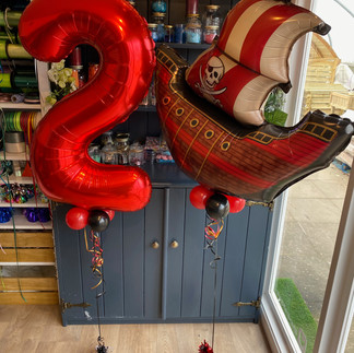 2nd Birthday - Pirate themed, matching red number foil and pirate supershape