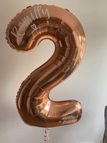 Personalised rose gold number balloons for year 6 leavers, personalised with names and school, helium filled