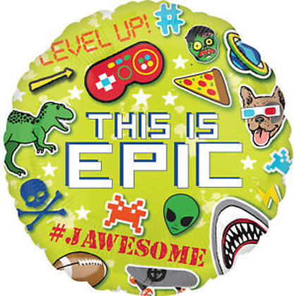 18 Inch 'This is Epic' Round Foil Gaming Balloon