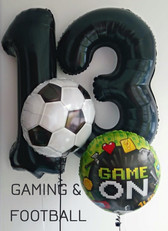 "Helium Filled Large Black Number Foils with a Football 18"" Foil and a Gaming Game On 18"" Foil Balloon"