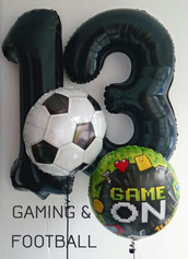 """Helium Filled Large Black Number Foils with a Football 18"""" Foil and a Gaming Game On 18"""" Foil Balloon"""