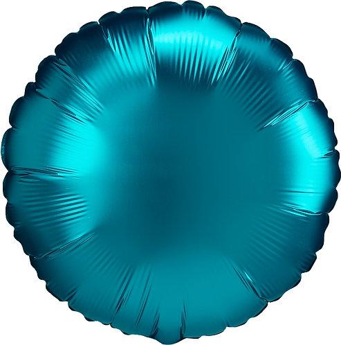 18 Inch Aqua Round Foil Balloon, Satin Luxe